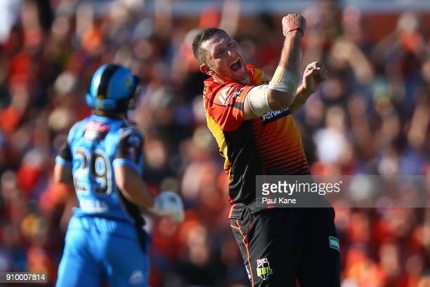 Tim Bresnan of the Scorchers celebrates the wicket of Jonathan Wells of the Strikers during the Big Bash League match between the Perth Scorchers and...
