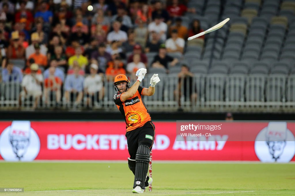 Tim Bresnan of the Scorchers lets go of his bat during the Big Bash League Semi Final match between the Perth Scorchers and the Hobart Hurricanes at Optus Stadium on February 1, 2018 in Perth, Australia.