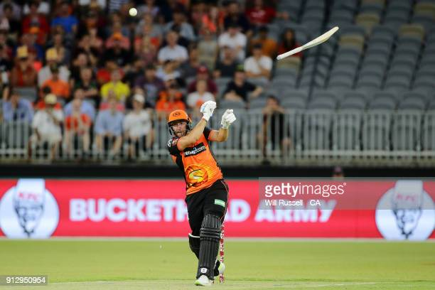 Tim Bresnan of the Scorchers lets go of his bat during the Big Bash League Semi Final match between the Perth Scorchers and the Hobart Hurricanes at...