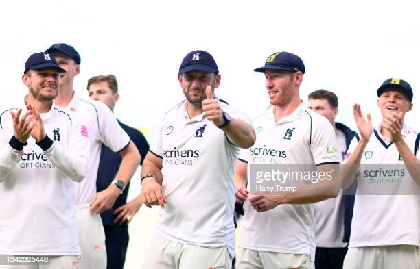 Tim Bresnan of Warwickshire celebrates following Day Four of the LV= Insurance County Championship match between Warwickshire and Somerset at...