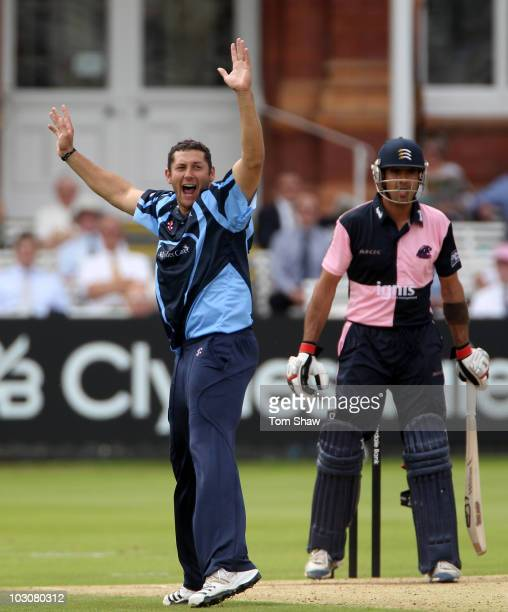 Tim Bresnan of Yorkshire appeals for and gets the wicket of Owais Shah of Middlesex during the Clydesdale Bank 40 match between Middlesex and...