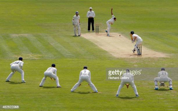 Tim Bresnan of Yorkshire bowls Paul Stirling of Middlesex during day four of the LV County Championship division One match between Yorkshire and...