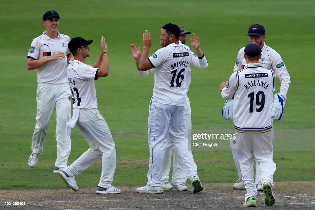 Tim Bresnan (C) of Yorkshire celebrates after he takes the wicket of Alex Davies of Lancashire during day two of the Specsavers County Championship division one match between Lancashire and Yorkshire at Emirates Old Trafford on July 23, 2018 in Manchester, England.