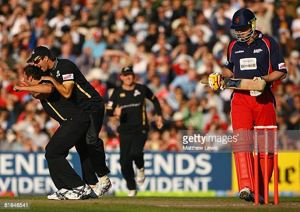Tim Bresnan of Yorkshire celebrates bowling Andrew Flintoff of Lancashire for a duck for LBW with team mate Michael Vaughan during of the Twenty20...