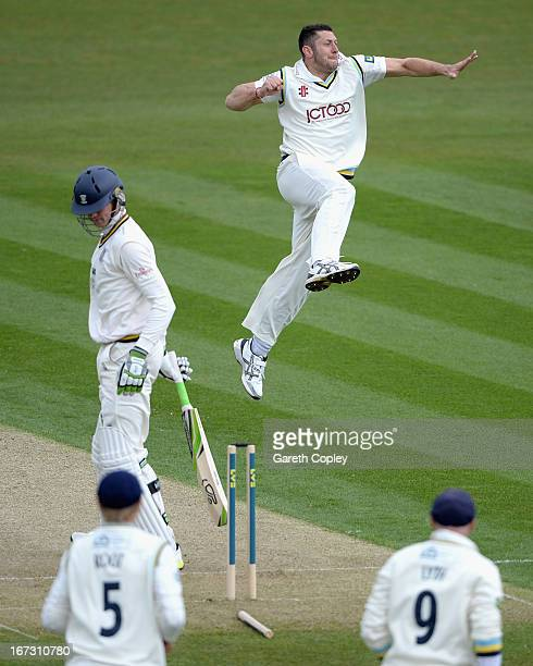 APRIL 24 APRIL 24 APRIL 24 Tim Bresnan of Yorkshire celebrates bowling Keaton Jennings of Durham during day one of the LV County Championship...