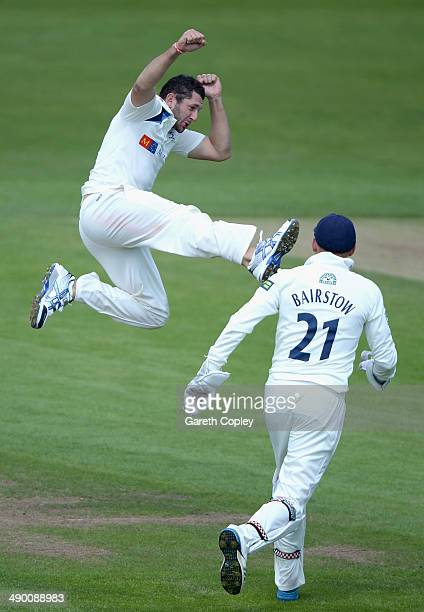 Tim Bresnan of Yorkshire celebrates dismissing Ian Bell of Warwickshire during day three of the LV County Championship division One match between...