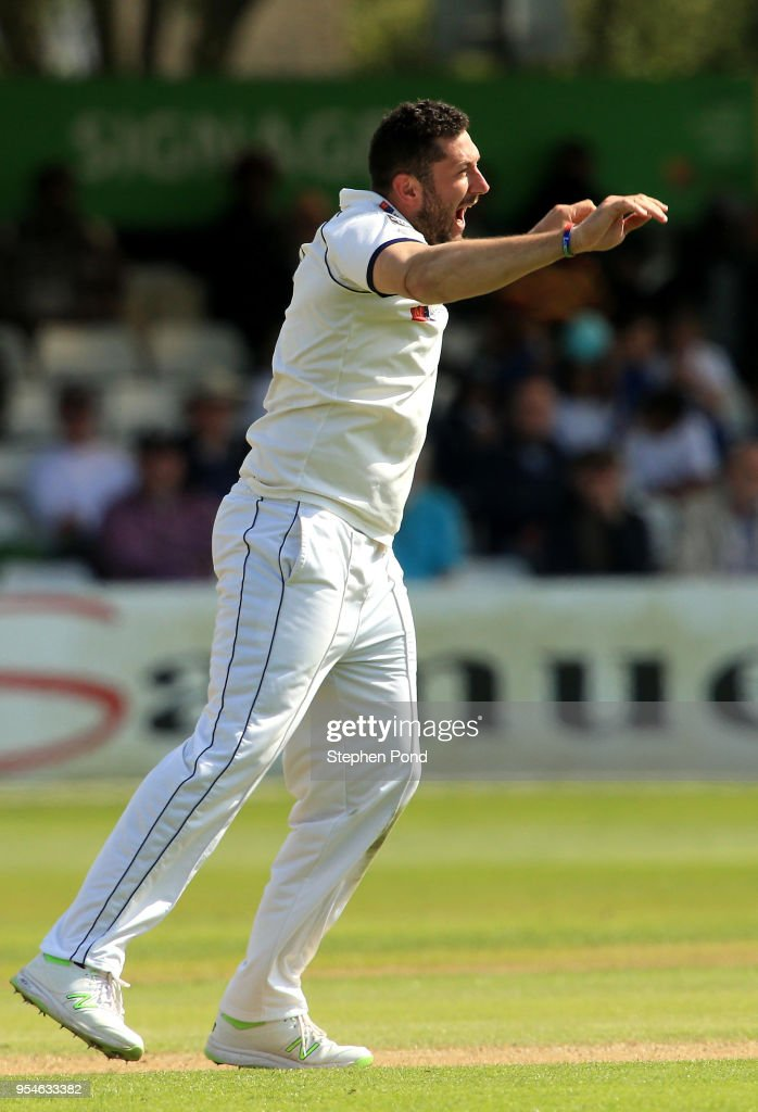 Tim Bresnan of Yorkshire celebrates taking a wicket during the Specsavers County Championship Division One match between Essex and Yorkshire at the Cloudfm County Ground on May 4, 2018 in Chelmsford, England.