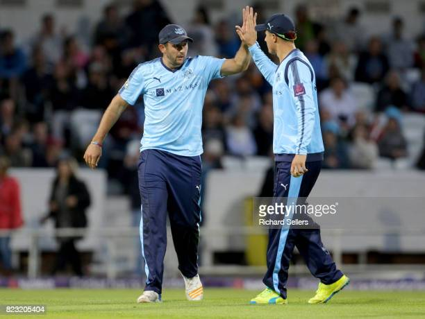 Tim Bresnan of Yorkshire celebrates with Matthew Fisher of Yorkshire during the NatWest T20 blast between Yorkshire Vikings and Durham at Headingley...