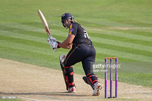 Tim Bresnan of Yorkshire hits out during the Royal London OneDay Cup quarter final between Kent v Yorkshire on August 18 2016 in Canterbury England