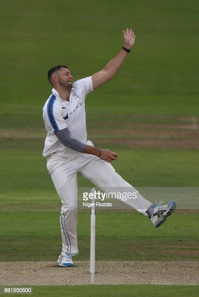 Tim Bresnan of Yorkshire in action during Day One of the Specsavers County Championship Division One match between Yorkshire and Lancashire at...