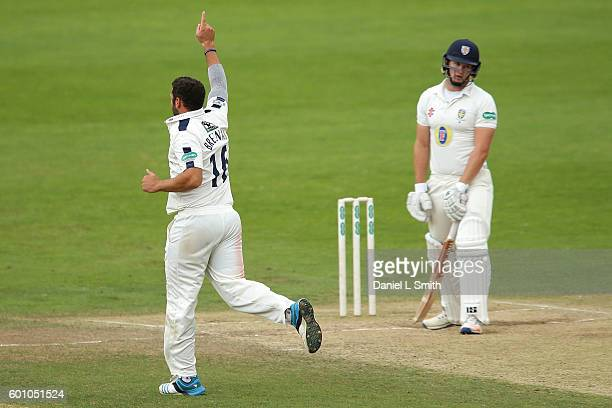 Tim Bresnan of Yorkshire reacts after Adam Lythe catches his delivery off Barry McCarthy of Durham during Day Four of the Specsavers County...