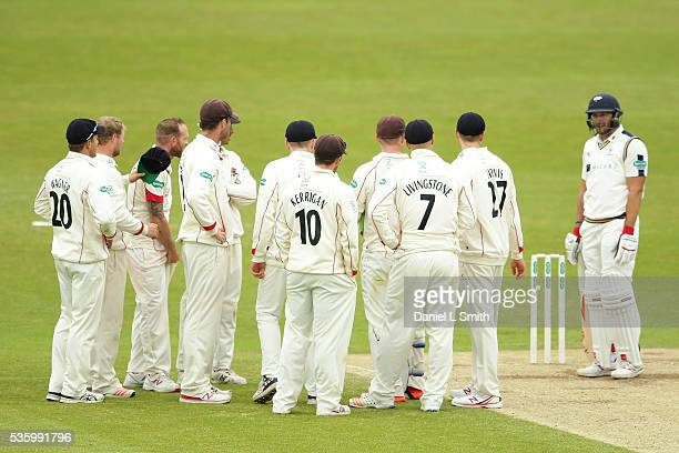 Tim Bresnan of Yorkshire remains at the crease as Lancashire look on for the umpires decision during day three of the Specsavers County Championship...