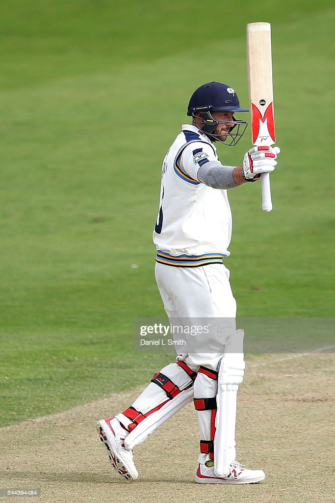 Tim Bresnan of Yorkshire salutes the crowd after scoring his half-century during day one of the Specsavers County Championship division one match between Yorkshire and Middlesex at North Marine Road on July 3, 2016 in Scarborough, England.
