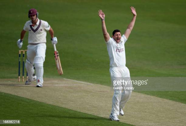 Tim Bresnan of Yorkshire successfully appeals for the wicket of Nick Compton of Somerset during day three of the LV County Championship Division One...