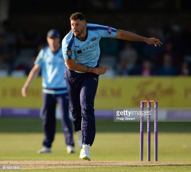 Tim Bresnan of Yorkshire Vikings bowls during the Royal London OneDay Cup match between Essex Eagles and Yorkshire Vikings at the Cloudfm County...