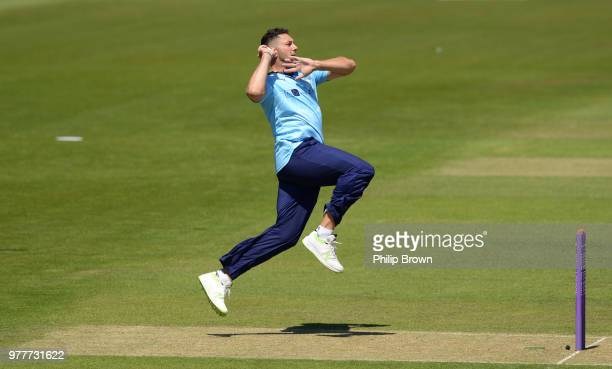 James Vince of Hampshire hits a six during the Royal London OneDay Cup SemiFinal match between Hampshire and Yorkshire Vikings at the Ageas Bowl on...