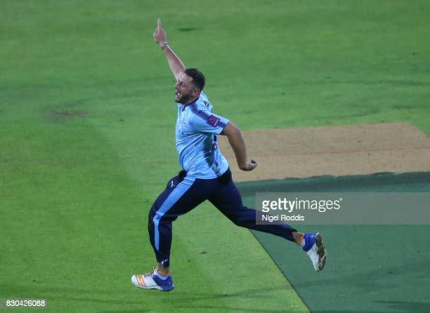 Tim Bresnan of Yorkshire Vikings celebrates taking the wicket of Junaid Khan of Lancashire Lightning during the NatWest T20 Blast between Yorkshire...
