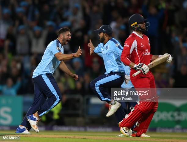Tim Bresnan of Yorkshire Vikings celebrates taking the wicket of Arron Lilley of Lancashire Lightning during the NatWest T20 Blast between Yorkshire...