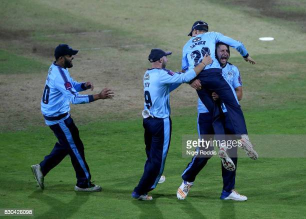 Tim Bresnan of Yorkshire Vikings celebrates with teamates after taking the wicket of Steven Parry of Lancashire Lightning during the NatWest T20...