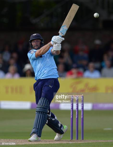 Tim Bresnan of Yorkshire Vikings hits out during the Royal London OneDay Cup match between Essex Eagles and Yorkshire Vikings at the Cloudfm County...