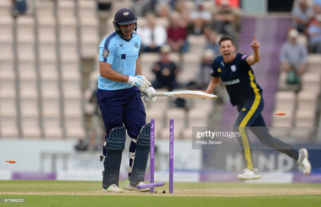 Tim Bresnan of Yorkshire Vikings is bowled by Chris Wood of Hampshire during the Royal London One-Day Cup Semi-Final match between Hampshire and Yorkshire Vikings at the Ageas Bowl on June 18, 2018 in Southampton, England.