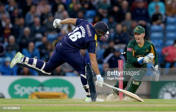 Tim Bresnan of Yorkshire Vikings makes his ground ahead of wicket of Tom Moores of Notts Outlaws stumping attempt during the Vitality Blast match...