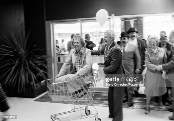 22nd May 1979 Blackpool England FineFare supermarket opening TimBrookeTaylor is taken for a ride around the supermarket by the Mayor of Blackpool Mr...