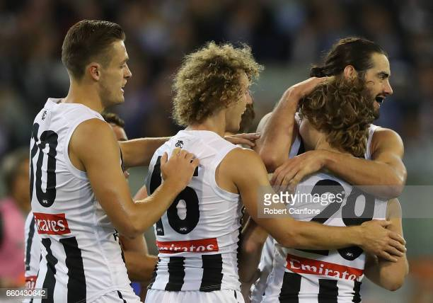 Tim Broomhead of the Magpies celebrates a goal during the round two AFL match between the Richmond Tigers and the Collingwood Magpies at Melbourne...