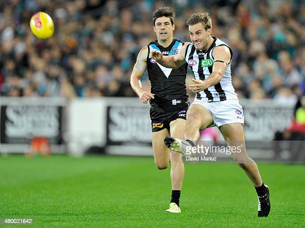 Tim Broomhead of the Magpies during the round 15 AFL match between Port Adelaide Power and Collingwood Magpies at Adelaide Oval on July 9 2015 in...