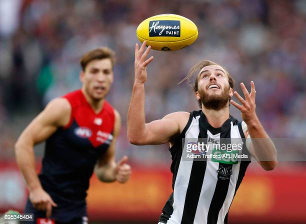 Tim Broomhead of the Magpies in action during the 2017 AFL round 12 match between the Melbourne Demons and the Collingwood Magpies at Melbourne...