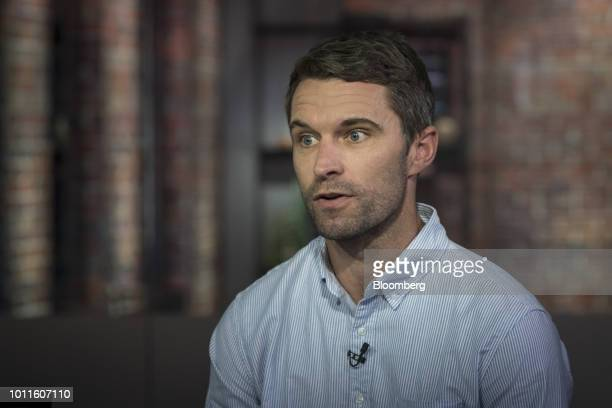 Tim Brown cofounder and cochief executive officer of Allbirds Inc speaks during a Bloomberg Technology television interview in San Francisco...