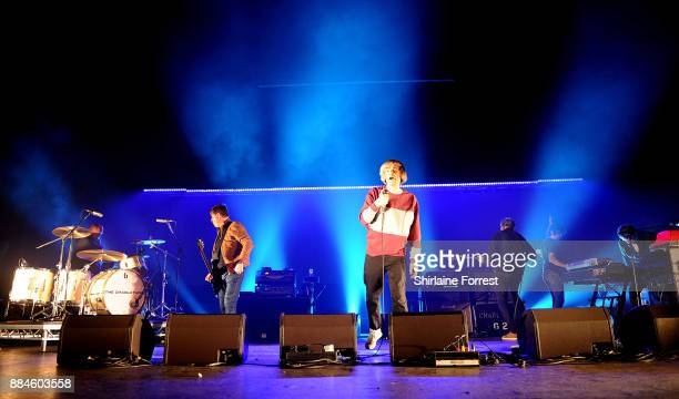 Tim Burgess Mark Collins Martin Blunt Tony Rogers of The Charlatans with Pete Salisbury of The Verve on drums perform live on stage at O2 Apollo...