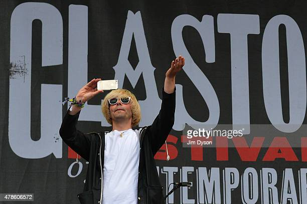 Tim Burgess of The Charlatans performs live on the Other stage at the Glastonbury Festival at Worthy Farm, Pilton on June 26, 2015 in Glastonbury,...