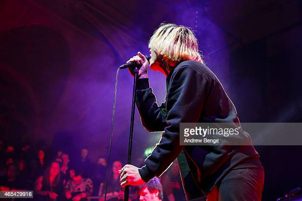 Tim Burgess of The Charlatans performs on stage at Albert Hall on March 6 2015 in Manchester United Kingdom