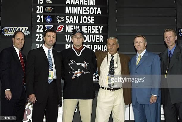 Tim Burke Doug Wilson first round draft pick Milan Michalek Karel Masopust Ron Wilson and Ilkka Sinisalo of the San Jose Sharks pose for a portrait...