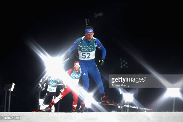 Tim Burke of the United States competes during the Men's 20km Individual Biathlon at Alpensia Biathlon Centre on February 15 2018 in Pyeongchanggun...