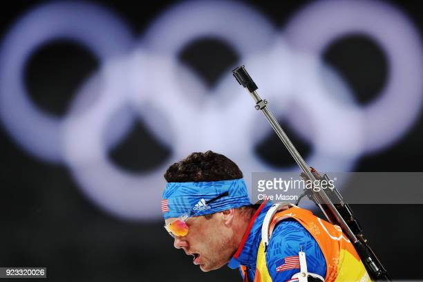 Tim Burke of the United States competes during the Men's 4x75km Biathlon Relay on day 14 of the PyeongChang 2018 Winter Olympic Games at Alpensia...