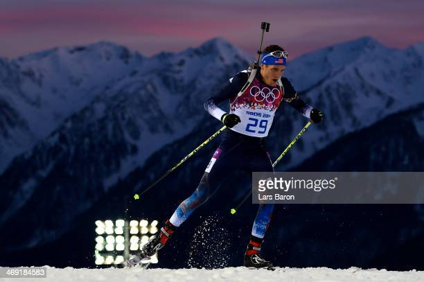 Tim Burke of the United States competes in the Men's Individual 20 km during day six of the Sochi 2014 Winter Olympics at Laura Crosscountry Ski...