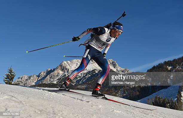 Tim Burke of the Unites States competes in the men's 10 km sprint event during the IBU Biathlon World Cup on December 12 2014 in Hochfilzen Austria
