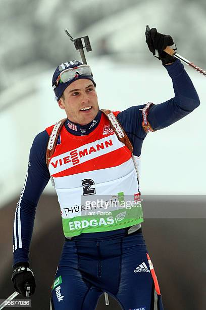 Tim Burke of USA celebrates after winning the second place during the Men's 15 km mass start in the e.on Ruhrgas IBU Biathlon World Cup on January...