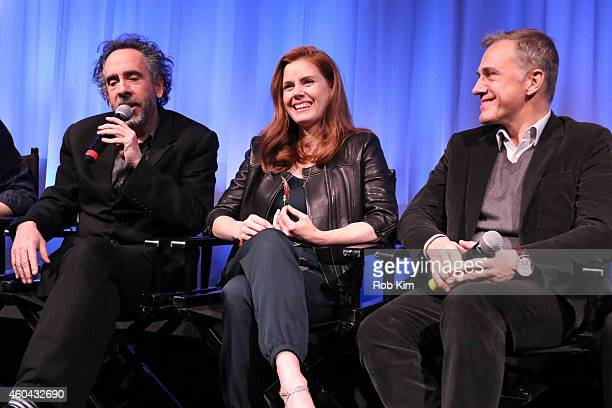Tim Burton Amy Adams and Christoph Waltz attend an Official Academy Members Screening of Big Eyes hosted by The Academy Of Motion Picture Arts And...
