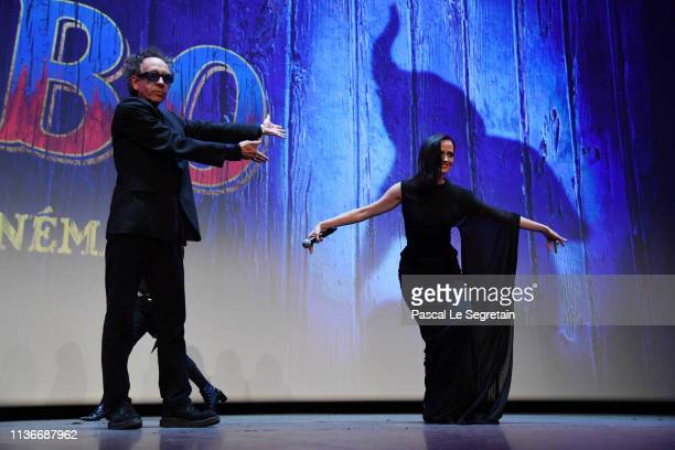 "Tim Burton and Eva Green attend the ""Dumbo"" Paris Gala Screening at Cinema Le Grand Rex on March 18 2019 in Paris France"
