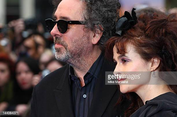 Tim Burton and Helena Bonham Carter attend the European premiere of Dark Shadows at the Empire Leicester Square on May 9, 2012 in London, England.