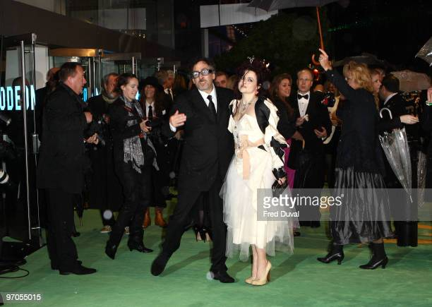 Tim Burton and Helena Bonham Carter attends the Royal World Premiere of Tim Burton's 'Alice In Wonderland' at Odeon Leicester Square on February 25...