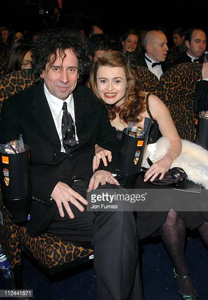 Tim Burton and Helena Bonham Carter during 2004 BAFTA Awards Backstage and Audience at The Odeon Leicester Square in London United Kingdom