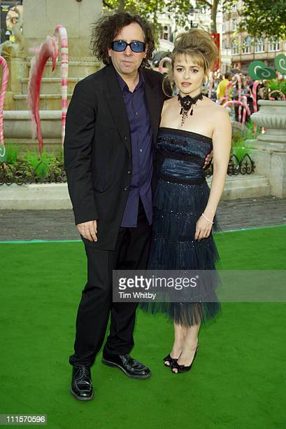 Tim Burton and Helena Bonham Carter during 'Charlie and the Chocolate Factory' London Premiere Inside Arrivals at Odeon Leicester Square in London...
