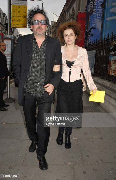 Tim Burton and Helena Bonham Carter during Royal Academy Summer Exhibition 2007 - VIP Private View - Departures at Royal Academy in London, Great...