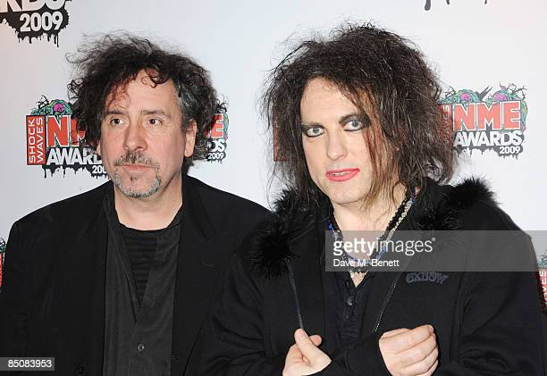 Tim Burton and Robert Smith of The Cure arrive at the Shockwaves NME Awards 2009 at the O2 Brixton Academy on February 25 2009 in London England