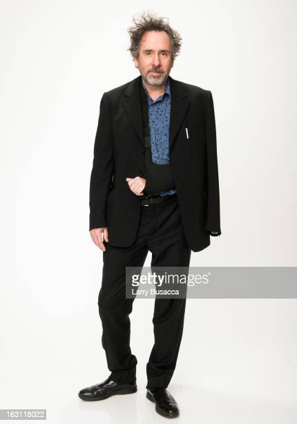 Tim Burton attends the Peoplecom Portrait Gallery at the 85th Academy Awards Nominees Luncheon at The Beverly Hilton Hotel on February 4 2013 in...