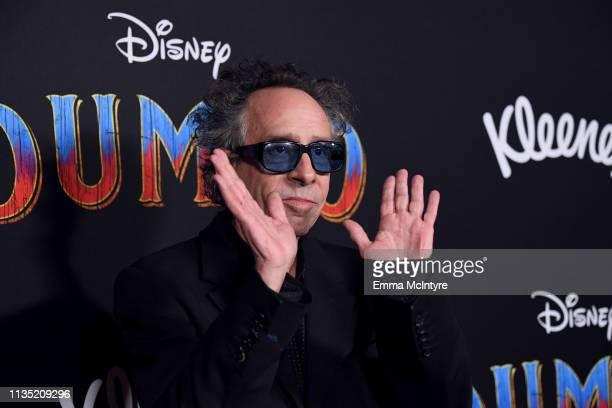 "Tim Burton attends the premiere of Disney's ""Dumbo"" at El Capitan Theatre on March 11, 2019 in Los Angeles, California."